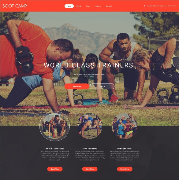 boot camp sports website template 69