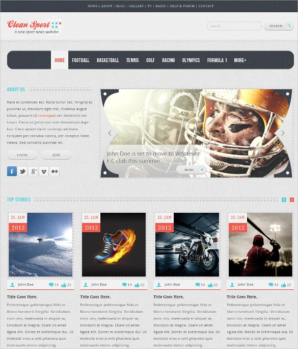 clean psd sports website template 10