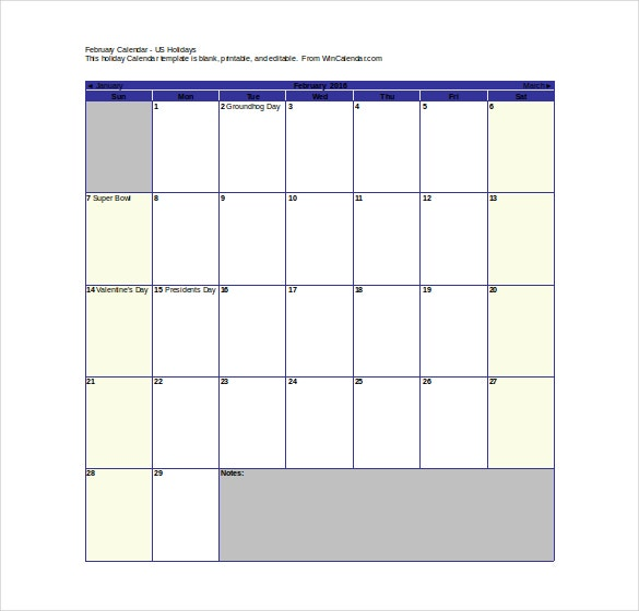 Free Holiday Calendar Template  Calendar Template For Word