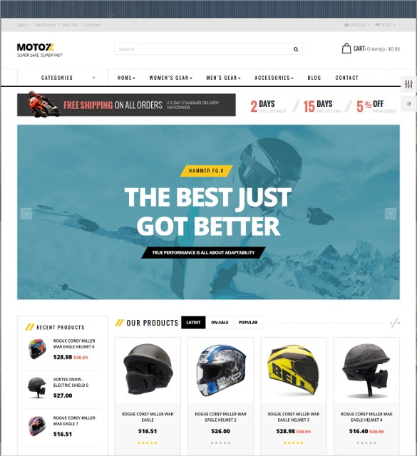 motorcycle sports prestashop website theme 30