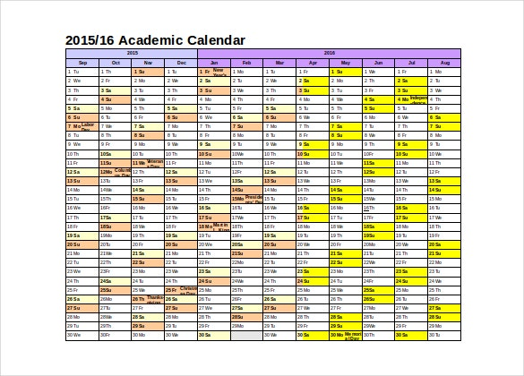academic calendar word format free template