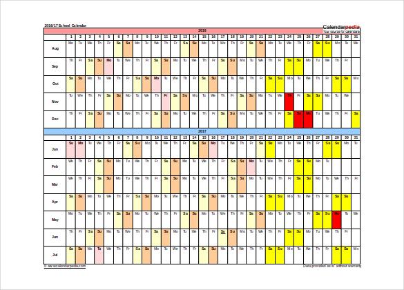 school calendar template free download word format