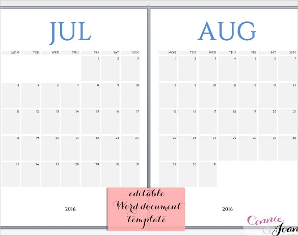 printable calendar template word format download