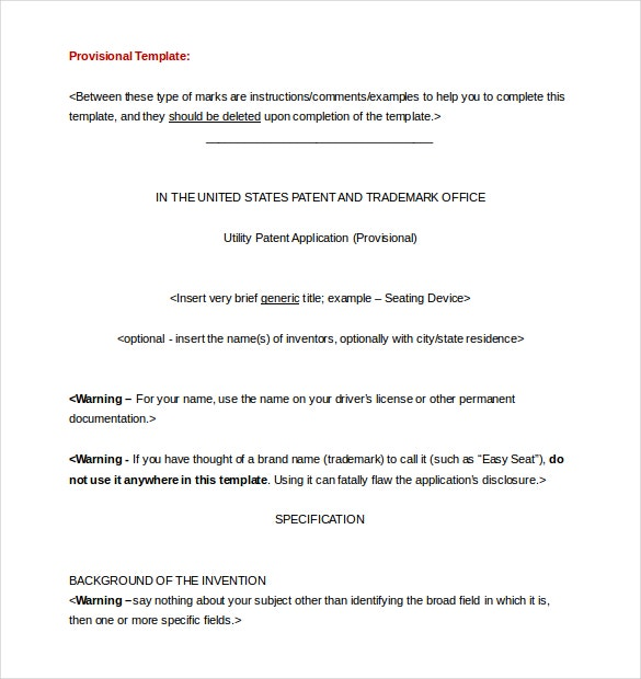 Provisional Patent Application Template Word Document Free Download  Document Transmittal Template Free
