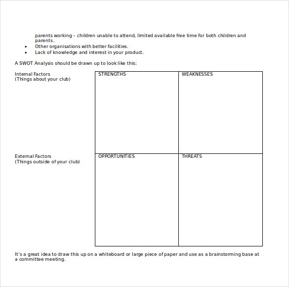 downloadable ms word swot analysis template