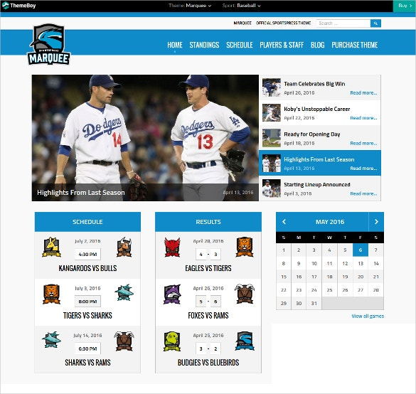 special sports team wordpress website theme