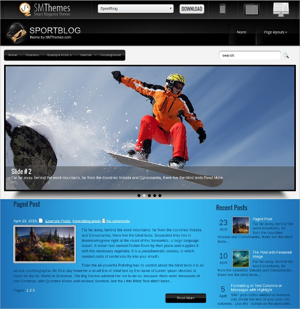 free sports blog website theme