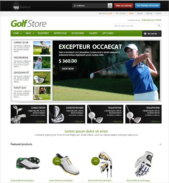 golf sport store prestashop website theme