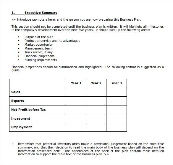 business plan template download