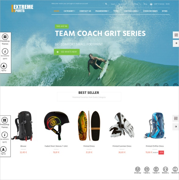 extrme sports prestashop website theme