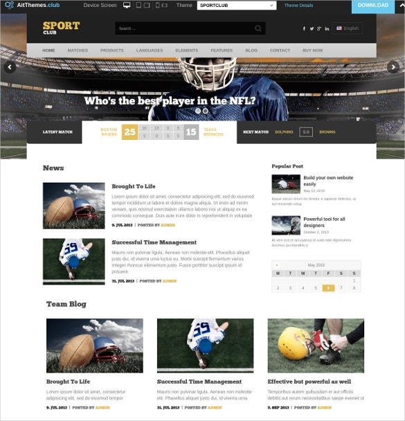 sports club opencart website theme