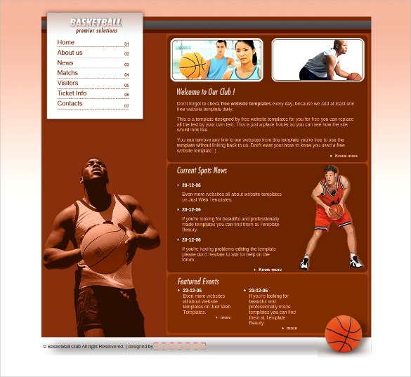 basket ball sports css website template