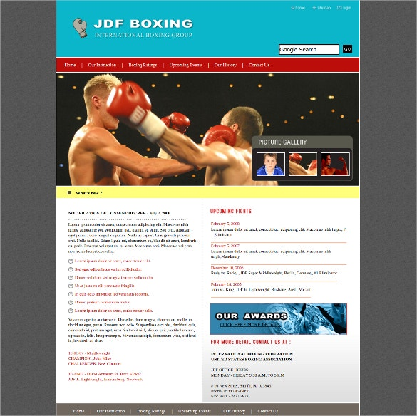 boxing sports css website template