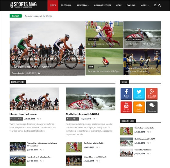 free sports magazine wordpress website template