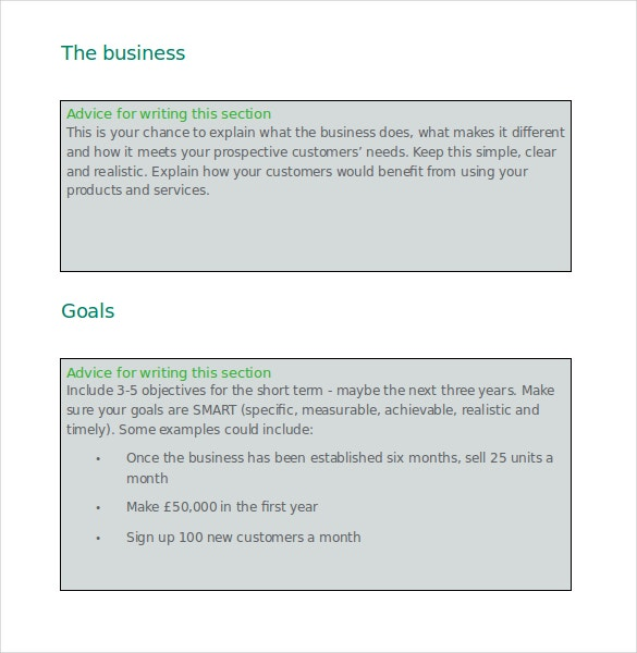 business plan template free word format download