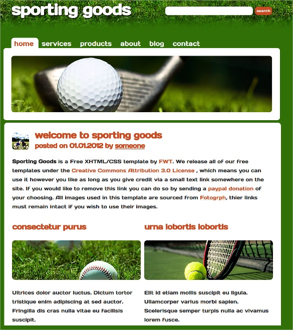 sporting goods website theme