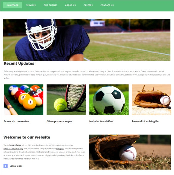 free sports website theme