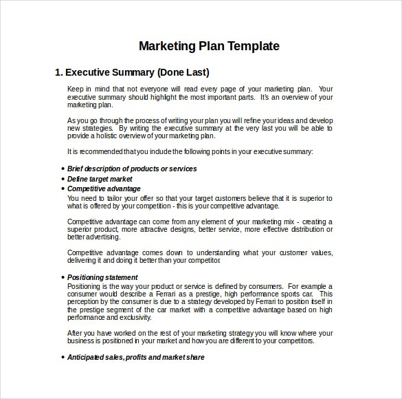 15 Microsoft Word Marketing Plan Templates – 1 Page Executive Summary Template
