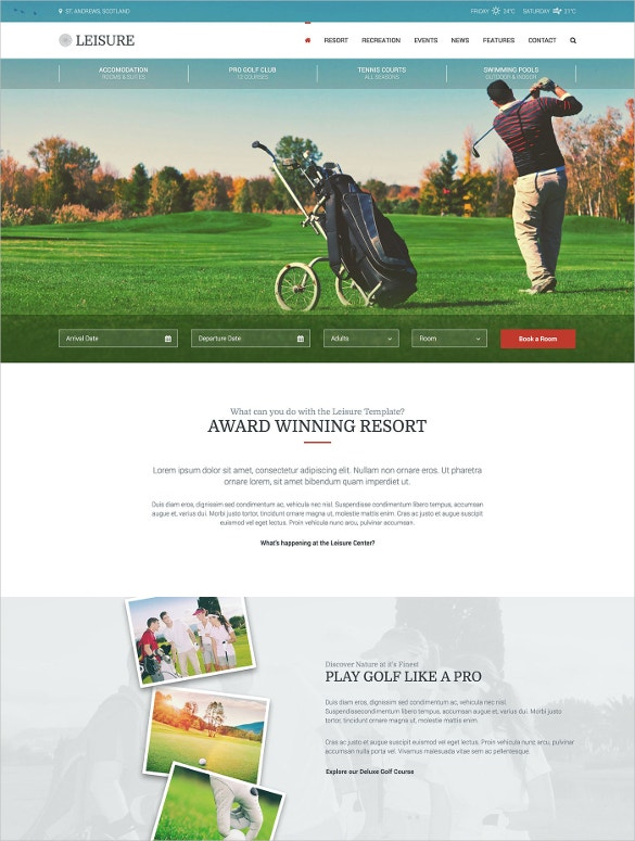 tennis center wordpress template