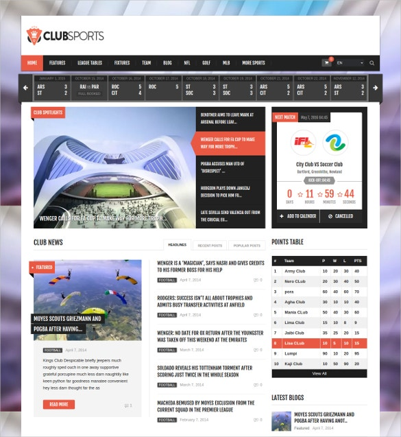 events tennis sports news wordpress theme
