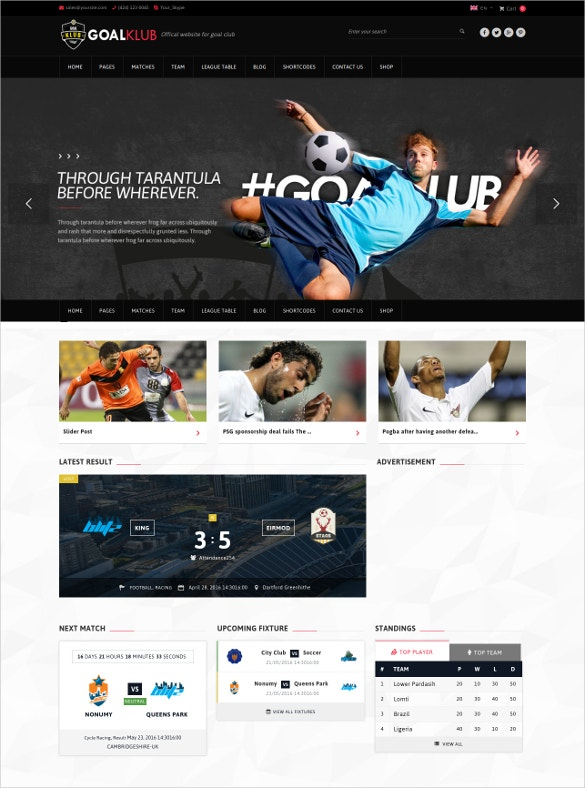 tennis sports events wordpress theme
