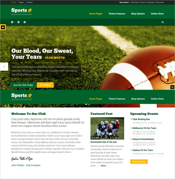 tennis club center wordpress theme