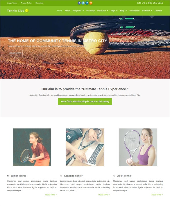 premium tennis club wordpress theme