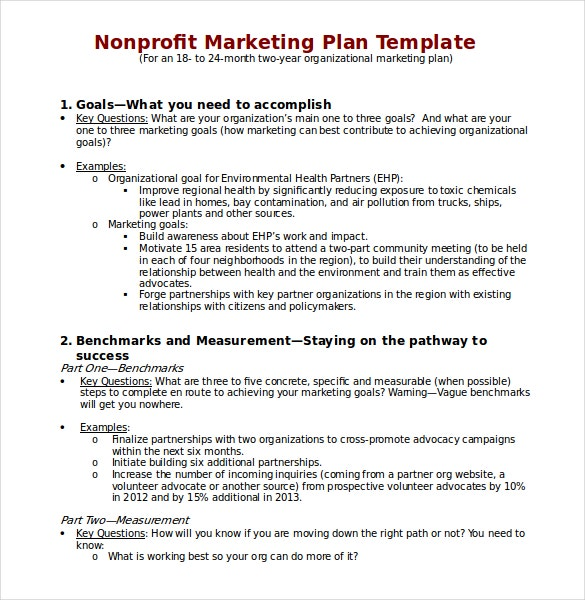 non profit marketing plan template download in word