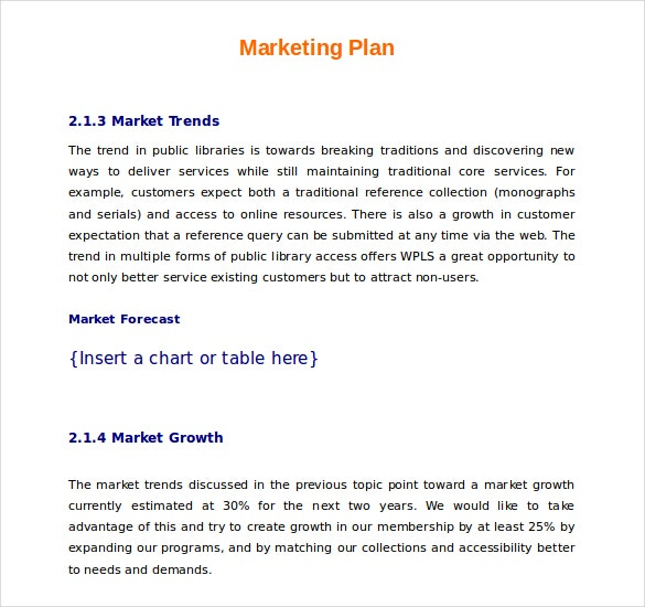 marketing plan example template download in word