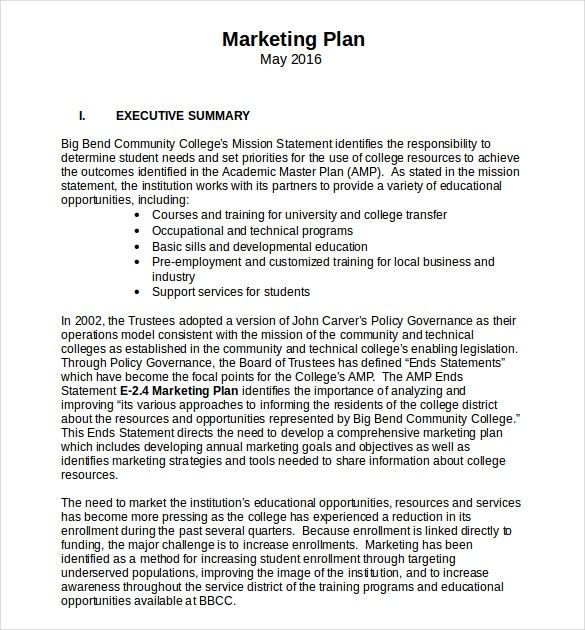 marketing plan template free - 18 microsoft word marketing plan templates free