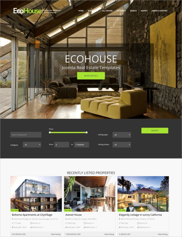 joomla estate broker template