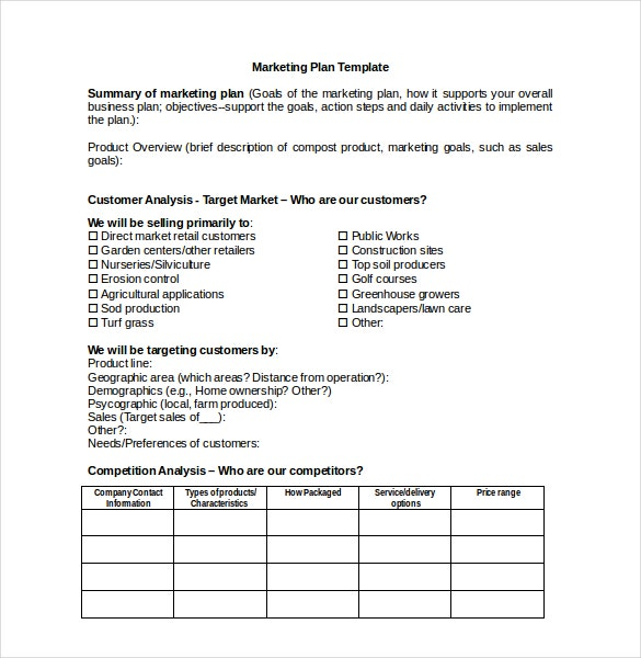 Marketing Plan Template for Microsoft Word Download