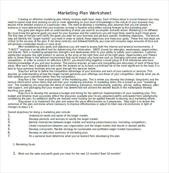 Marketing Plan Worksheet Template Download in Word