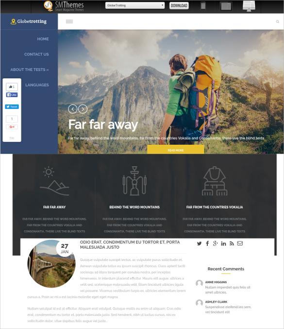 free travel agency wordpress website theme