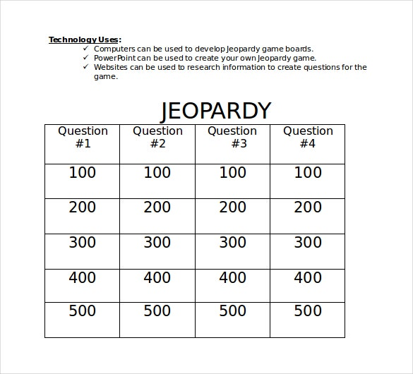 Microsoft Word Jeopardy Templates Download  Free  Premium