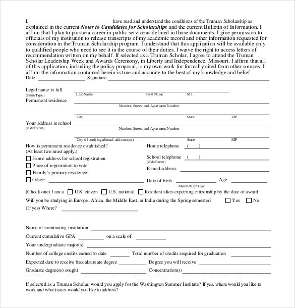 Scholarship Application Templates  Free Sample Example