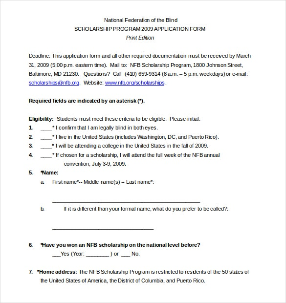 scholarship guidelines template 13 scholarship application templates pdf doc free