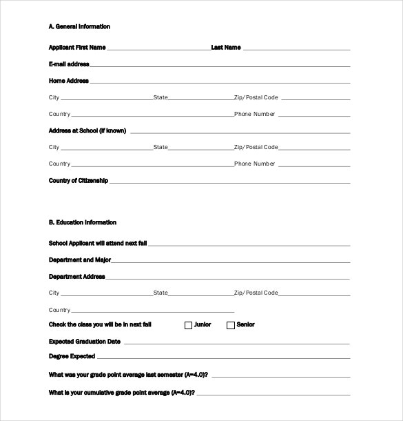 Scholarship Application Templates  Free Sample Example Format