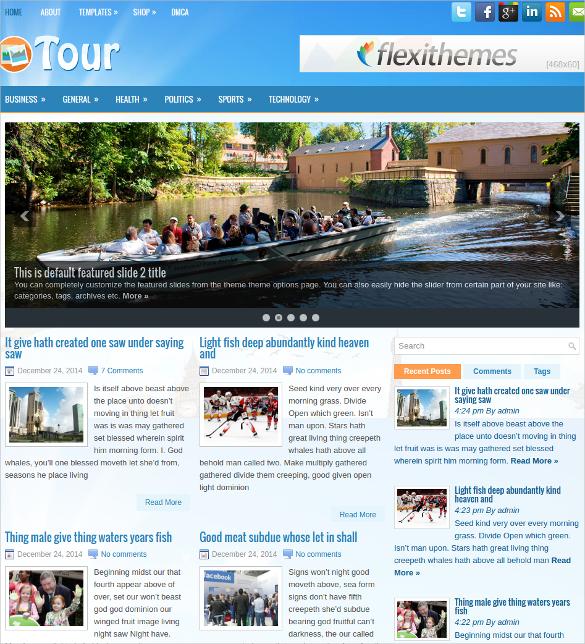 tour free responsive wordpress website theme