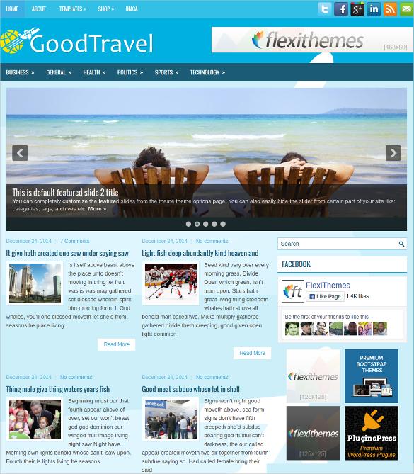 good travel free responsive wordpress website theme