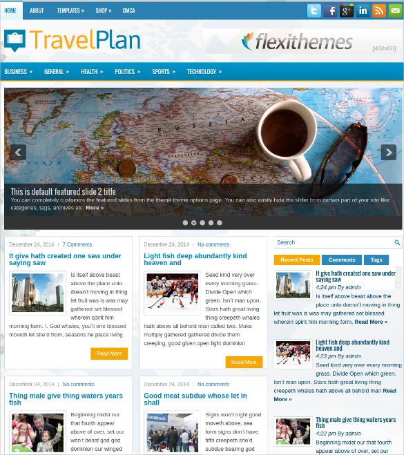 travel plan free responsive wordpress website theme