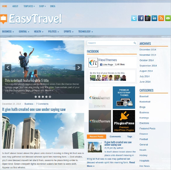 easy travel free responsive wordpress website theme