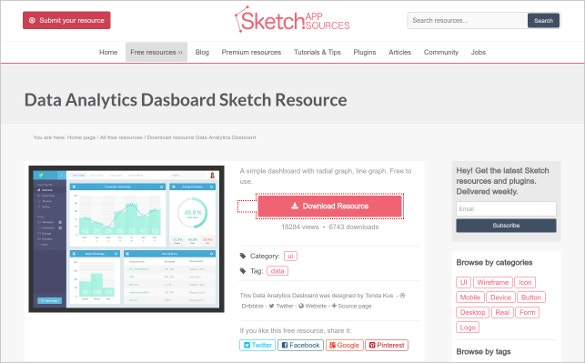 Data Analytics Dashboard Sketch Resource