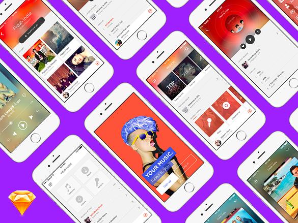 Music App UI Kit for Sketch