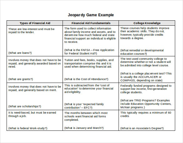 ms word jeopardy game example template download