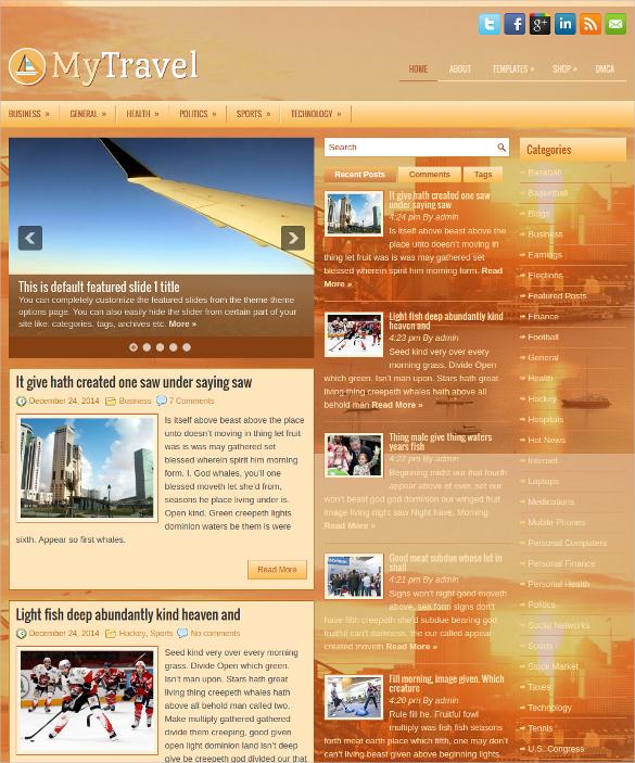 my travel free responsive wordpress website theme