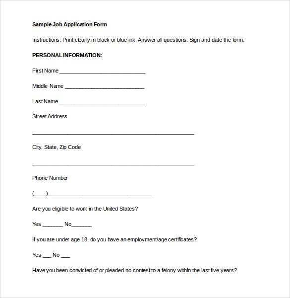 Example Job Application Form Free Download
