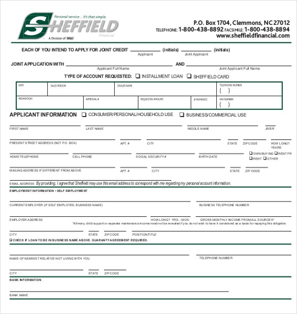 15 application form templates free sample example for Credit applications templates