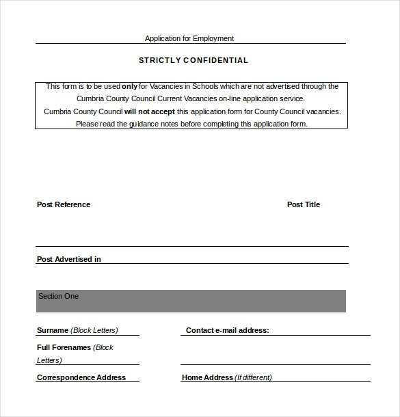 employee job application word document