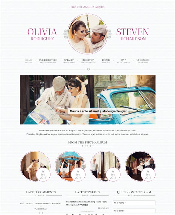 romantic wedding event planning wordpress template
